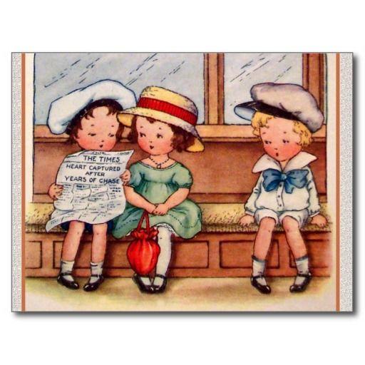 Vintage Kinderen met Harten Gevangen Krant Wens Kaart