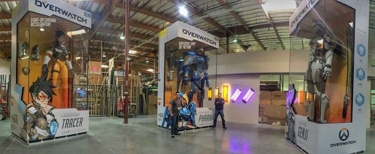 "Colossal Tracer, Pharah, and Gengi figures from ""Overwatch."" Build by Alliance Studio. Enclosures built by EGADs in Las Vegas. My job was character lighting and audio control. Each of the characters has an EFX-TEK HC-8+ controller for lighting and an AP-16+ for sound. Simple stuff, but the crowds loved them."