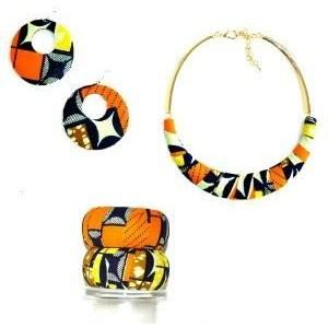African Cloth Twisted Necklace Set - Zabba Designs African Clothing Store