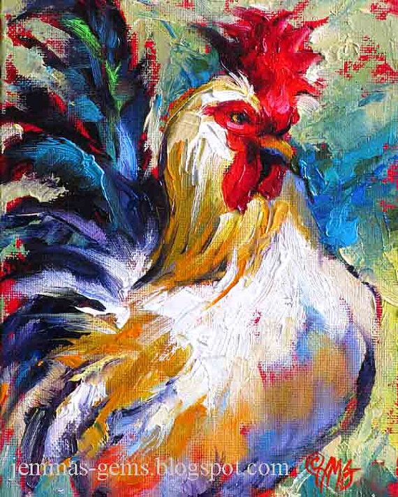 Rooster Wall Art - Colorful Chicken Art - Rooster Print - Chicken Print from Original Painting - 10 x 8 by Jemmas Gems