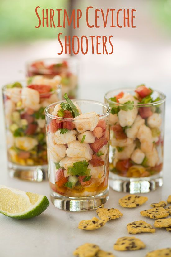 This quick and simple Shrimp Ceviche is the perfect appetizer for your next  summer party. Pro-tip: Serve it up in shot glasses for easy serving along  with a side of Masa Crisps!