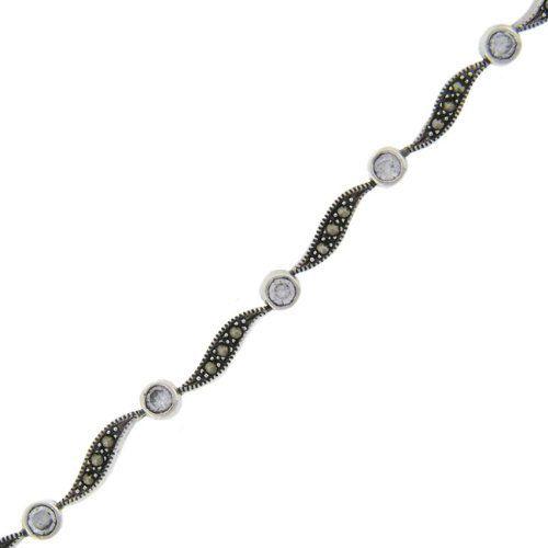 Sterling Silver Marcasite Round CZ Stones Wave Bracelet LEAH HANNA. $29.99