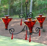 Humming Bird Feeders - Red Chandelier Glass Hummingbird Feeder- Another possible DIY