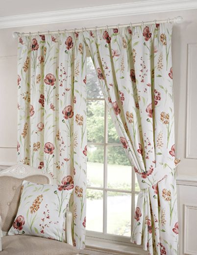 Ellie Ready Made Lined Curtains CurtainsTerracottaElsaPoppyPencilDining Room