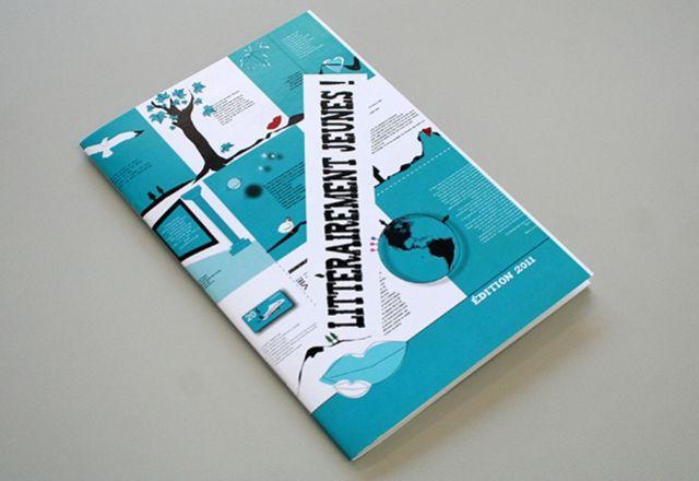 Brochure - Musée de l'imprimerie du Québec - « Littérairement jeunes ! Édition 2011 » Graphisme et mise en pages (40p) recueil de textes écrits par des jeunes - Type d'impression : couleur et noir - Finition : brochage à cheval