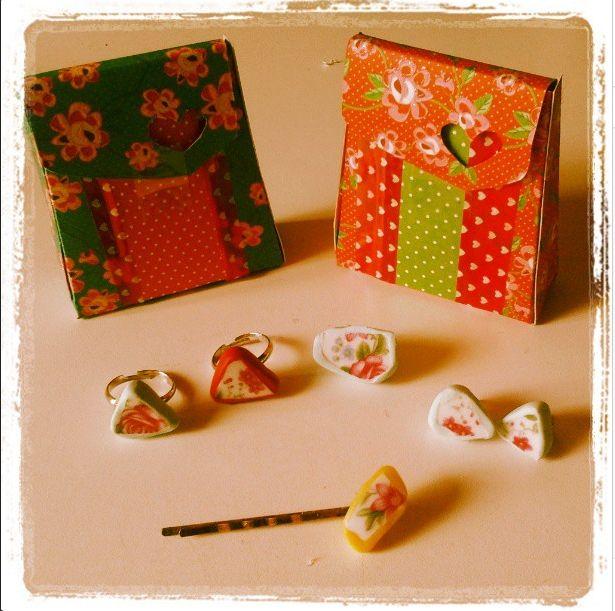 Handmade jewels in a handmade giftbox