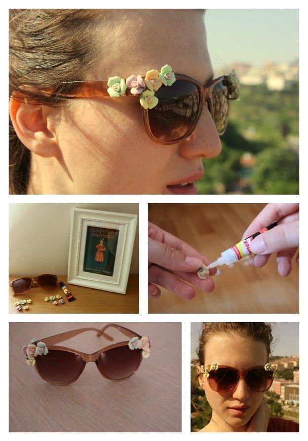 lunettes de soleil fleurs   Lunettes de soleil costumisation Sun glassese  costumize   DIY, DIY fashion et Diy clothes 7297a698e1ca