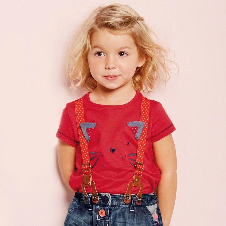 半袖Tシャツ あざやかレッド×ダークネイビーのにゃんこ刺繍 コットン100% 75cm~120cm