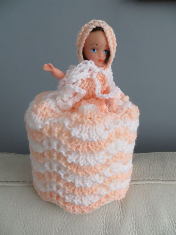 Hand Knitted Doll Toilet Roll Cover Kitsch