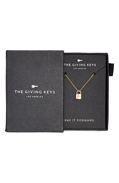 The Giving Keys 'Petite - XO' 16-inch Lock Pendant Necklace #Nordstrom Proceeds benefit charities that help the homeless transition into society