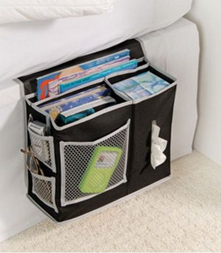 Buy a storage caddy for the side of your bed. | 37 Ingenious Ways To Make Your Dorm Room Feel Like Home