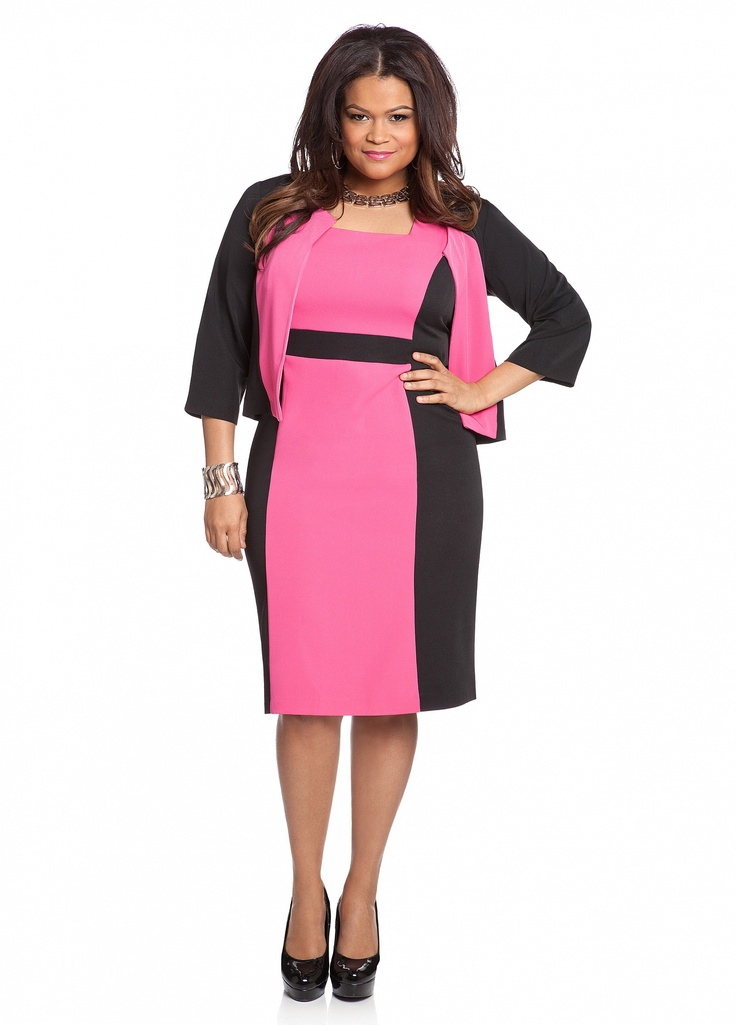 Ashley stewart color block blazer and sheath dress i am for Ashley stewart wedding dresses
