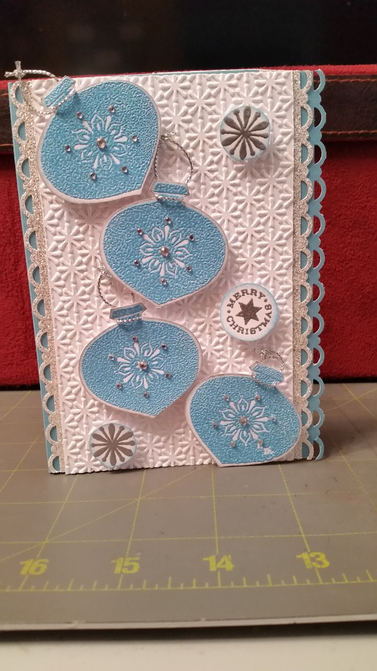 Delightful Decorations retired Stampin Up set, silver glitter paper and ink. With some embossing powder.