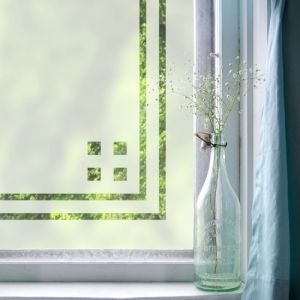 Purlfrost window frames: Easy way to add interest and a touch of privacy to windows.
