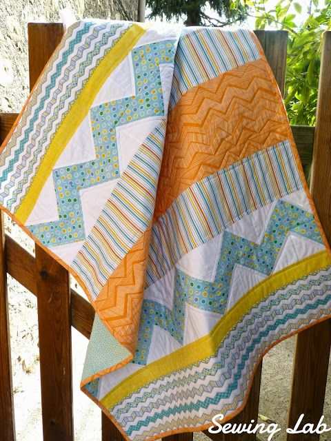 Handmade Quilts & Modern Pattern Designs | SewingLab-- so cute with touch of chevron and strips. easy and darling.