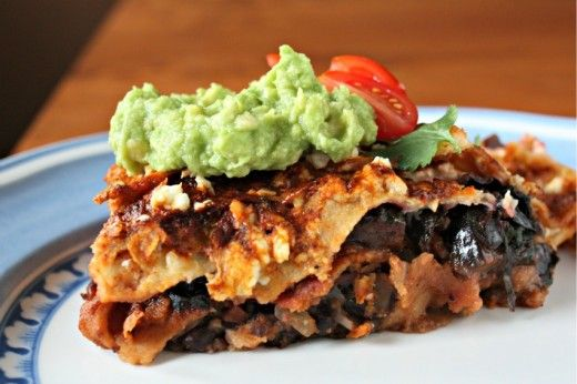 Layered Pasilla-Tortilla Casserole with Black Beans, Mushrooms, and ...