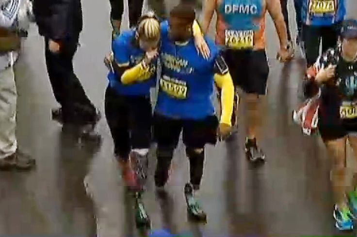 """A woman who lost her leg in the Boston Marathon bombing two years ago returned  to triumphantly run the race.  """"I took my life back today,"""" said an emotional Rebekah Gregory, 27, after falling to her knees, weeping, on the rain-soaked pavement at the finish line.  And to the conspiracy Creep that claims Rebekah is a crisis actor and a hoax, F-You. http://nodisinfo.com/super-hoax-boston-marathon-amputee-exposed-silicone-leg/"""