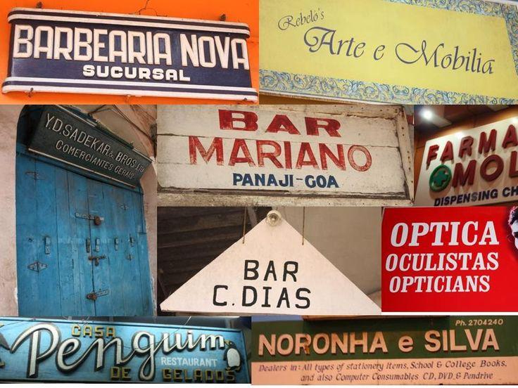 Vestígios da presença portuguesa na vida comercial de Panjim.