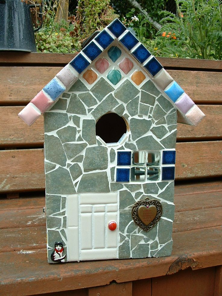 Large mosaic Birdhouse. (front view).  ~~~Mosaic by Diane Erickson~~~