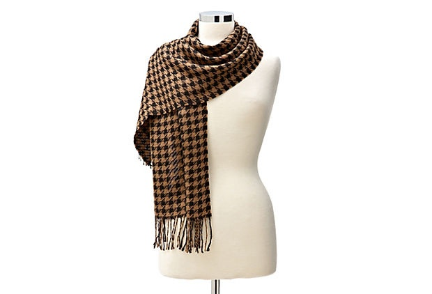 Houndstooth Alpaca Scarf, Brown on OneKingsLane.com