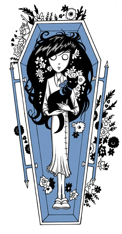 @ghostgirl epilogue art of Charlotte in her glass coffin with cat from #ghostgirl Xmas Spirit: It's A Wonderful Afterlife. Ebook available now. @tonyahurley