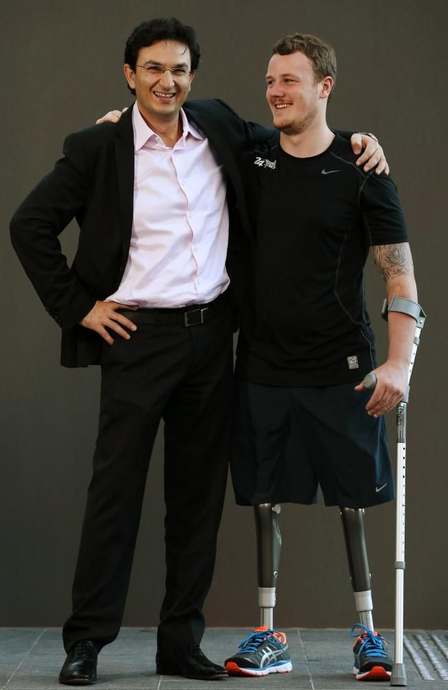 British Army double amputee Michael Swain can walk again thanks to Dr Munjed Al Muderis. Picture: Toby Zerna