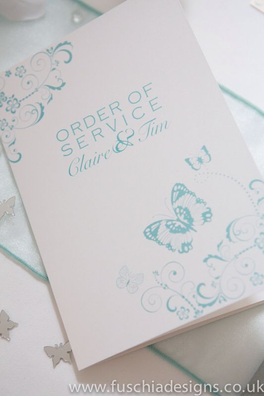 Spearmint butterfly order of service wedding stationery. www.fuschiadesigns.co.uk