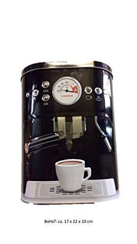 Niedriger Preis Kaffeedose Blechdose Vorratsdose mit 3D Motiv Kaffeemaschine Aufbewahrungsdose Kaffee Dose schwarz Die billigsten