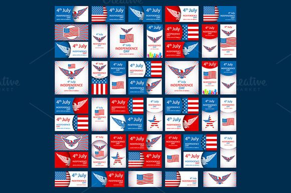 USA Independence day set vector by Rommeo79 on @creativemarket