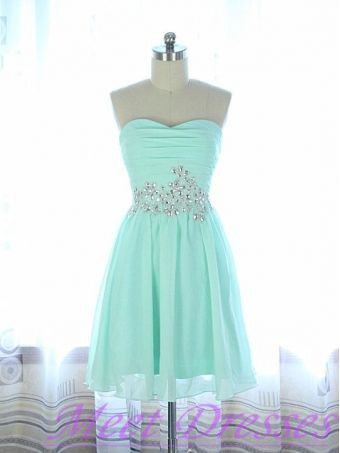 2015 New Style Mint Green Homecoming Dresses A Line Beaded Chiffon Short Prom Dress For Summer Teen Maids