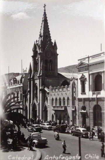 Catedral de Antofagasta circa 1945 Postal de autor desconocido. - EnterrenoEnterreno