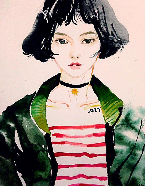 마틸다 스타일의 미소녀를 수채화로 그려보았습니다.수채화 시연 동영상입니다. 즐감해주세요 :)   (얼굴묘사는 45초부터!)