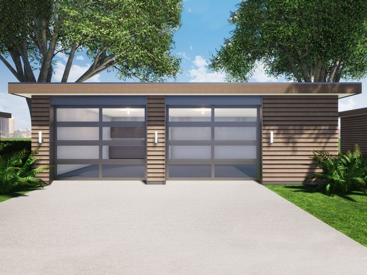 052g 0026 Modern Two Car Garage Plan In 2020 Garage Plan Modern Garage House Roof Design
