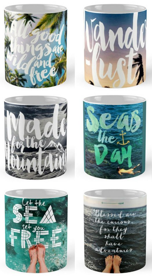 Travel quote mugs // http://www.redbubble.com/people/seattlestravels/shop/mugs?ref=portfolio_product_refinement