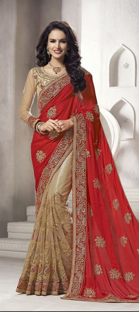 179805: Beige and Brown, Red and Maroon color family Bridal Wedding Sarees with matching unstitched blouse.