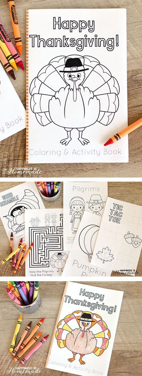 This FREE printable Thanksgiving coloring & activity book is the perfect way to entertain the children at the kids table before the big meal! SUPER cute! – Happiness is Homemade