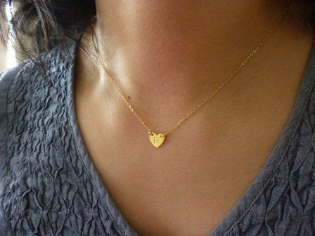 tiny heart initial necklacegold initial necklacetiny by MomentusNY