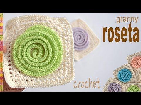 Cuadrado o granny Roseta tejido a crochet - Tejiendo Perú - YouTube