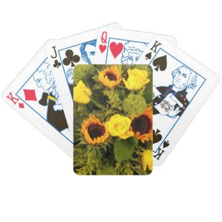 Orange Yellow Sunflower Roses Floral Bouquet Bicycle Playing Cards
