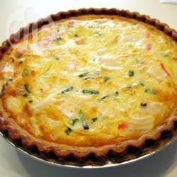 Seafood quiche. I make this all the time. A go- to recipe for me. I use 3-4 eggs. 3/4 cup milk, fake crab meat , green onions , Swiss cheese. You can use what ever seafood you have. It all tastes good. Put all chopped ingredients into unbaked crust, sprinkle in spices, cover with egg milk mixture. Bake 350 for about 50 minutes. Mary 5/2015