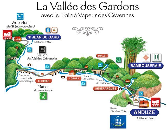 A steam train trip. Carte du parcours du petit Train à vapeur de Cévennes entre Anduze et St Jean-du-Gard