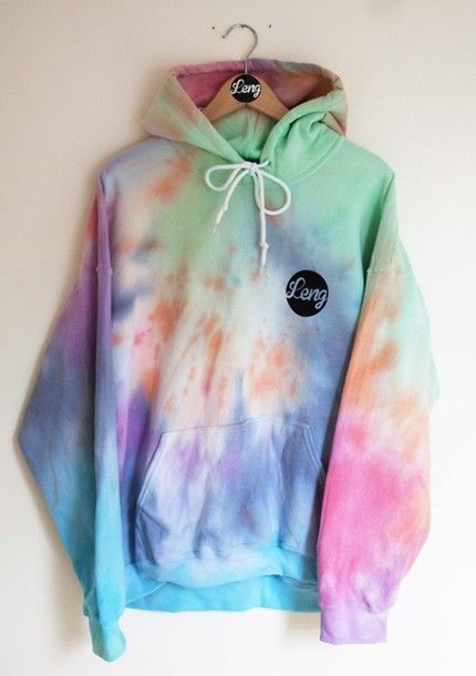hoodie tie dye oversized bright colorful 90s style trippy sweater