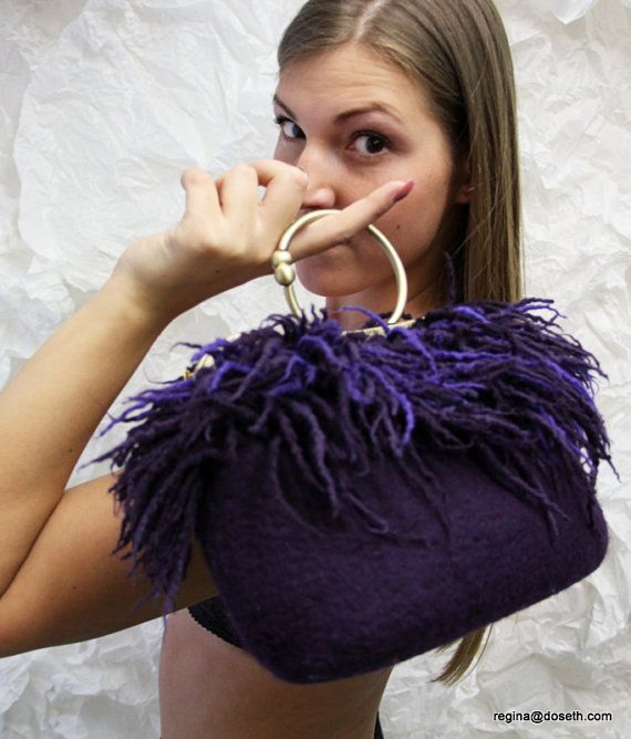 Felted purple purse felt handbag wool purse lilac small evening fringes red fire bag unique regina Doseth handmade in Lithuania EU