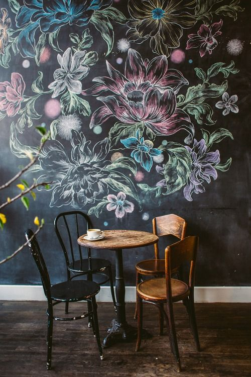 looks like a chalkboard wall... love the idea of being able to create something new on the wall from time to time.