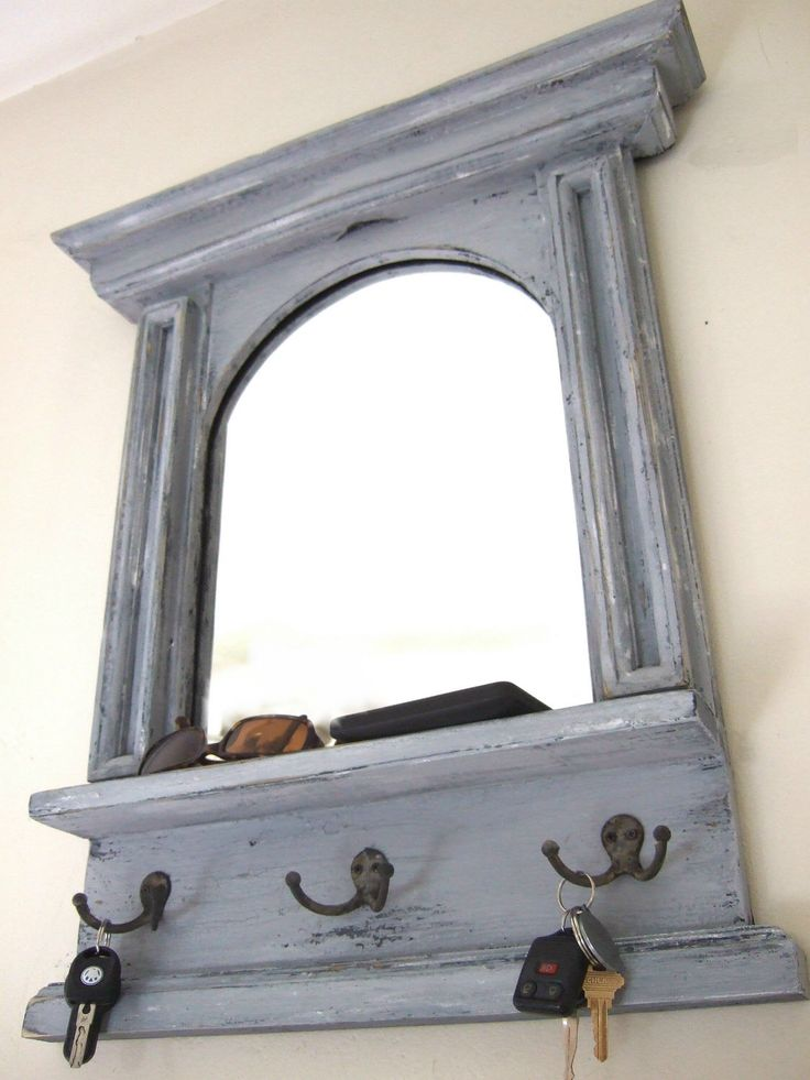 The Arch Mirror with Shelf & Hooks  - French Architectural Design Mirror in Blue - Grey by ArcadianCottage on Etsy https://www.etsy.com/listing/100910559/the-arch-mirror-with-shelf-hooks-french