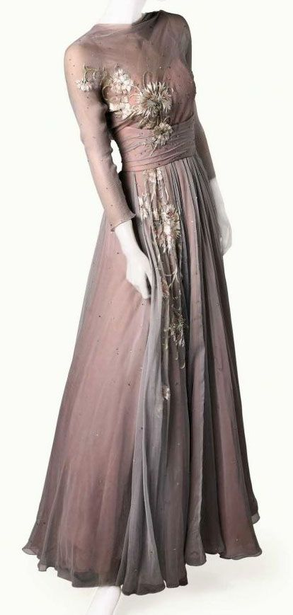 """Helen Rose worn by Grace Kelly in  """"High Society"""" alongside Frank Sinatra.  grace kelly dress from high society.  Really unusual layering of colors in chiffon so it changes constantly with light and movement, and that is before you see the embroidery."""