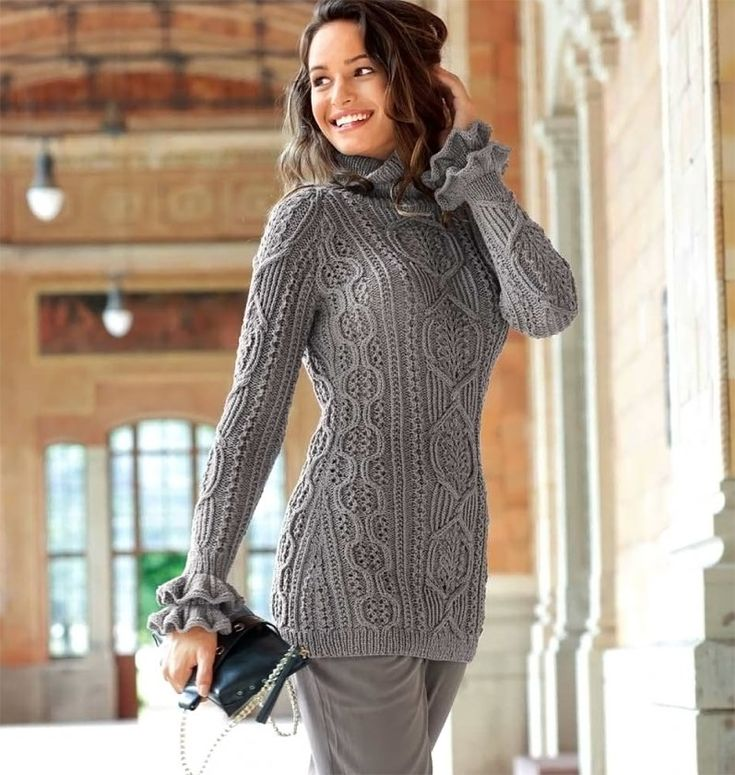 Пуловер реглан с «косами» - Вязаные модели спицами для женщин 34-44