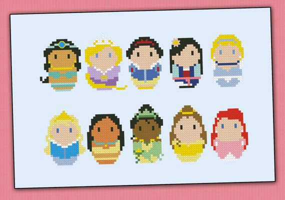 Princesses chibi  PDF  cross stitch pattern door cloudsfactory, $7.00