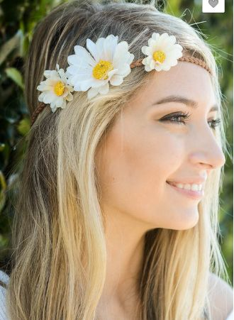 """Daisy festival hairband with feather tails. 45"""" long including feather."""