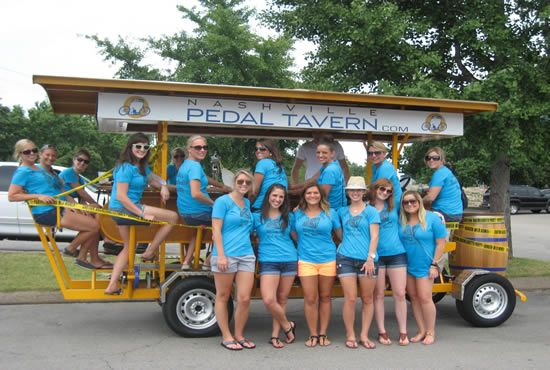Planning a Bachelorette Weekend in Nashville  on Borrowed & Blue.  Photo Credit: via Nashvillepedaltavern.com